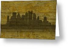Pittsburgh Pennsylvania City Skyline Silhouette Distressed On Worn Peeling Wood No Name Version Greeting Card