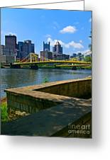 Pittsburgh Pennsylvania Skyline And Bridges As Seen From The North Shore Greeting Card by Amy Cicconi