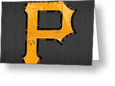 Pittsburgh Pirates Baseball Vintage Logo License Plate Art Greeting Card