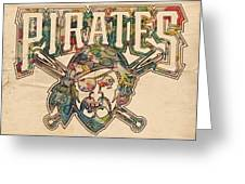Pittsburgh Pirates Poster Vintage Greeting Card