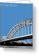 Pittsburgh Skyline 16th St. Bridge - Slate Greeting Card