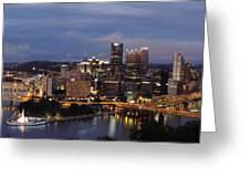 Pittsburgh Skyline At Dusk From Mount Washington Greeting Card