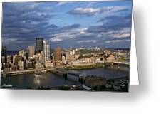 Pittsburgh Skyline At Dusk Greeting Card