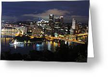 Pittsburgh Skyline At Night From Mount Washington 4 Greeting Card