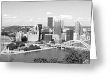 Pittsburgh Skyline From Mount Washington Black And White Greeting Card