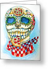 Pizza Sugar Skull Greeting Card