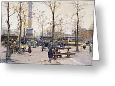 Place De La Bastille Paris Greeting Card by Eugene Galien-Laloue
