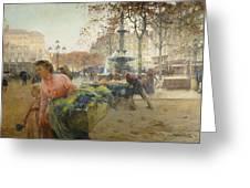 Place Du Theatre Francais Paris Greeting Card by Eugene Galien-Laloue