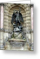 Place Saint Michel Statue And Fountain In Paris France Greeting Card
