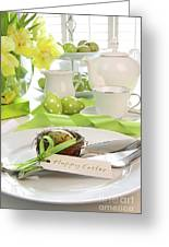 Place Setting With Place Card Set For Easter Greeting Card by Sandra Cunningham
