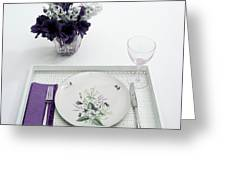 Place Setting With With Flowers Greeting Card