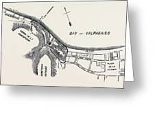 Plan Of Part Of The City Of Valparaiso Greeting Card