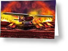 Plane And Fire Greeting Card