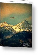 Plane Flying Over Mountains Greeting Card