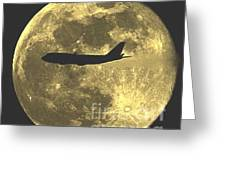Plane In The Moon Greeting Card