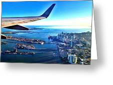 Plane Over Miami Greeting Card