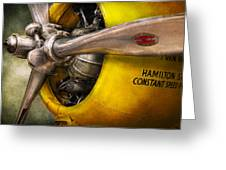 Plane - Pilot - Prop - Twin Wasp Greeting Card by Mike Savad