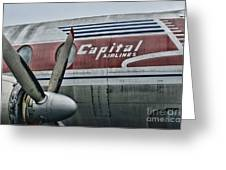 Plane Vintage Capital Airlines Greeting Card by Paul Ward