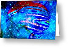 Planet Disector Blue/red Greeting Card