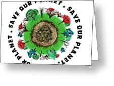 Planet Earth Icon With Slogan Greeting Card