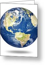 Planet Earth On White - America Greeting Card