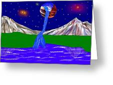 Planet Water Fall Greeting Card