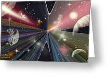 Planets Dancing Greeting Card