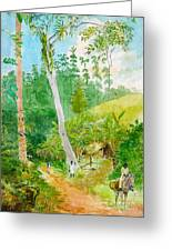 Plantain Walk Watchman And Hut Greeting Card