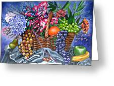 Plastic Fruits And Flowers Greeting Card