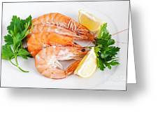 Plate With Shrimps  Greeting Card
