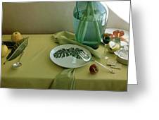 Plates, Apples And A Vase On A Green Tablecloth Greeting Card