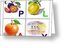 Play Art Alphabet For Kids Room Greeting Card by Irina Sztukowski