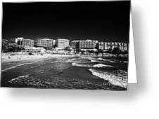 Playa Cappellans And Salou Waterfront Properties On The Costa Dorada Catalonia Spain Greeting Card