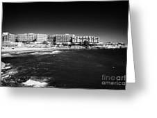 Playa De Cappellans And Salou Waterfront Properties On The Costa Dorada Catalonia Spain Greeting Card