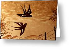 Playful Swallows Original Coffee Painting Greeting Card
