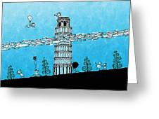 Playful Tower Of Pisa Greeting Card