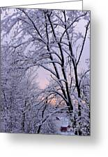 Playhouse Through Snow Greeting Card