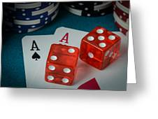 Playing Cards And Dice Used With Gamling Chips Greeting Card