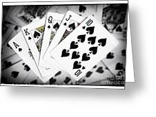 Playing Cards Royal Flush With Digital Border And Effects Greeting Card