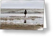 Girl Playing In Sea Foam Greeting Card
