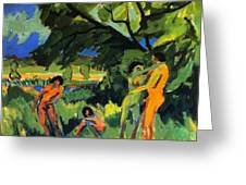 Playing Nudes Under Trees Greeting Card