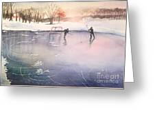 Playing On Ice Greeting Card