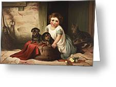 Playing With Friends Circa 1850 Greeting Card by Aged Pixel