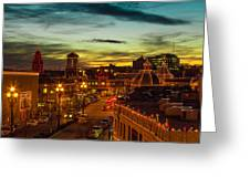 Plaza Lights At Sunset Greeting Card