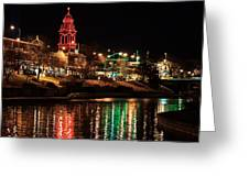 Plaza Time Tower Night Reflection Greeting Card