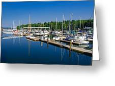 Pleasant Harbor Greeting Card by Mark Bowmer