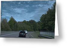 Pleasure Drive Paris Roads Tree Line And Wonderful Skyview Greeting Card