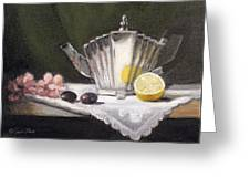 Pleated Teapot With Lemon Greeting Card by Sarah Parks