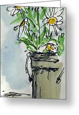 Plein Air Sketchbook. Ventura California 2011.  Tall Bucket Of Daisies From My Backyard Greeting Card by Cathy Peterson