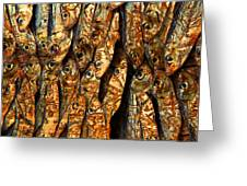 Plenty Of Small Dried Fishes On A Stack Greeting Card